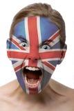 великобританская краска девушки стороны Стоковые Фотографии RF
