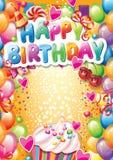 Шаблон для поздравительой открытки ко дню рождения с днем рождения Стоковые Фото