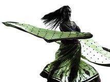 印第安妇女舞蹈演员跳舞剪影 库存照片