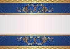 金子和蓝色背景 免版税库存图片