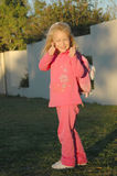 回到女孩粉红色学校 免版税图库摄影