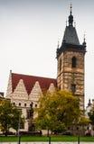 新的城镇厅在布拉格,中世纪哥特式建筑 库存照片