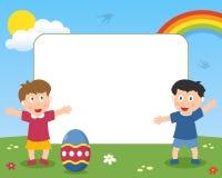 复活节彩蛋&孩子照片框架 库存图片