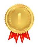 第一个安排金黄奖牌。 向量 免版税库存图片