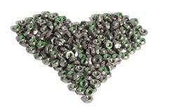 Καρύδια μετάλλων με μορφή της καρδιάς που απομονώνεται στο λευκό Στοκ Φωτογραφίες