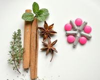 传统,自然解决与现代药片 库存照片