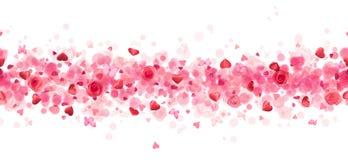 Επαναλαμβανόμενες καρδιές, τριαντάφυλλα και πεταλούδες Στοκ Φωτογραφία