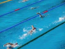 游泳池的人们 免版税库存图片