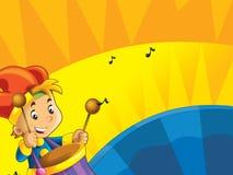 与仪器的动画片孩子-在色的动态背景的音乐符号和幸福 免版税库存图片