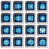Квадратные установленные иконы - кнопки игрока Стоковые Изображения