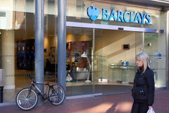 巴克莱银行在英国 库存照片
