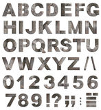 старые письма алфавита металла, числа, пунктуация Стоковое Изображение
