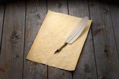 翎毛钢笔&纸张 库存图片