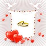 Κάρτα γαμήλιας πρόσκλησης με τα δαχτυλίδια Στοκ Εικόνες