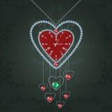 Καρδιά-ρολόι με τα διαμάντια Στοκ φωτογραφίες με δικαίωμα ελεύθερης χρήσης