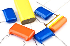 新的电子电容器组 免版税库存图片