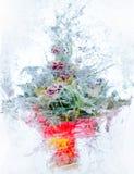 拼贴画。 花精美花束在冰的 免版税库存图片