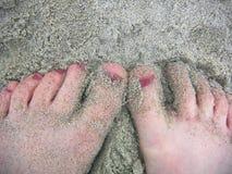 песочные пальцы ноги Стоковая Фотография