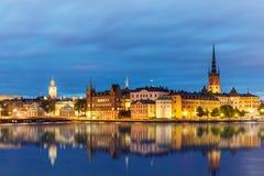 夜间斯德哥尔摩,瑞典夏天风景  免版税库存图片