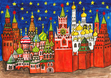 莫斯科,绘 免版税图库摄影