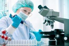 Научный работник работая на лаборатории Стоковые Фотографии RF