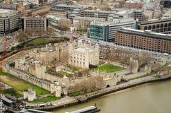 伦敦塔鸟瞰图 库存图片