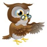 指向逗人喜爱的动画片猫头鹰 免版税库存图片