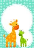 婴儿送礼会长颈鹿邀请看板卡 免版税库存照片