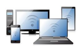 计算机、膝上型计算机片剂和电话有连接的 库存图片