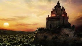 在日落的童话城堡 免版税图库摄影