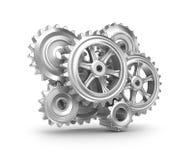 钟表机构结构。 嵌齿轮和齿轮。 图库摄影