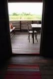 内部,木亚洲房子阳台视图 免版税库存照片