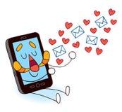 传送爱信息的移动电话 库存图片