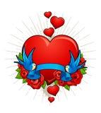 Иллюстрация вектора сердца с птицами Стоковые Фотографии RF