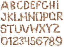 酒黄柏字母表  免版税库存图片