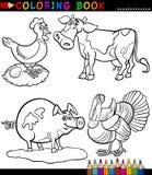 Ζώα αγροκτημάτων κινούμενων σχεδίων για το χρωματισμό του βιβλίου Στοκ Εικόνες