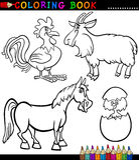 Ζώα αγροκτημάτων κινούμενων σχεδίων για το χρωματισμό του βιβλίου Στοκ εικόνα με δικαίωμα ελεύθερης χρήσης