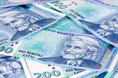 立陶宛货币背景 免版税图库摄影