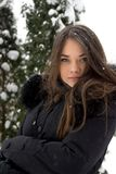 女孩纵向在冬天。 免版税图库摄影