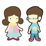 逗人喜爱的男孩和女孩以便装样式布料方式 免版税库存图片