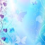 柔和的蓝色花卉框架 免版税库存照片