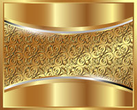 Μεταλλική χρυσή ανασκόπηση με ένα πρότυπο Στοκ Φωτογραφία