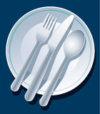 蓝色餐位餐具 免版税库存图片