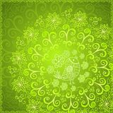 绿色抽象花饰背景 库存图片