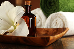 芳香疗法和按摩油 免版税库存照片