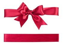由丝绸做的大红色弓 库存照片