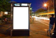 公车候车厅广告牌 库存图片