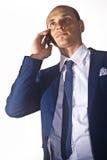 生意人联系在电话 免版税图库摄影