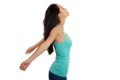 Азиатская женщина ослабляя с открытыми рукоятками Стоковая Фотография