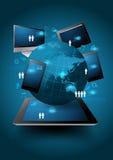 导航技术商业,在计算机上的网络处理绘制 免版税库存图片